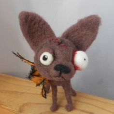 Zombie Chihuahua needle felted art doll by papermoongallery, $59.00