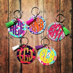 Lilly Pulitzer Monogrammed Keychain Lilly by SimplySouthernChics Monogram Keychain, Monogram Initials, Acrylic Keychains, Jeep Accessories, Vinyl Projects, Silhouette Projects, Lilly Pulitzer, Cricut, Crafty