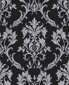 Rafaele (M0731) - Vymura Wallpapers - An elegant antique damask on a glittering background. Shown in a dramatic black colouring - more colours available. Please request a sample for true match.