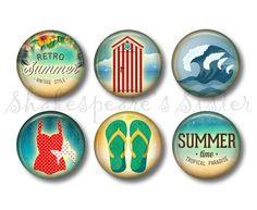 Beach House Decor - Fridge Magnets - Nautical Kitchen - 6 Magnets - 1.5 Inch Magnets - Kitchen Magnets by ShakespearesSisters on Etsy