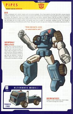 Transformers Universe - Gallery: G1 Pipes Transformers Armada, Transformers Generation 1, Transformers Characters, Transformers Prime, Transformers Bumblebee, Gi Joe, Transformers Collection, Marvel, Anime