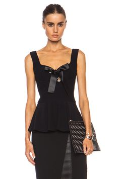 Alexander McQueen|Crepe Bow Acetate-Blend Top with Peplum in Black