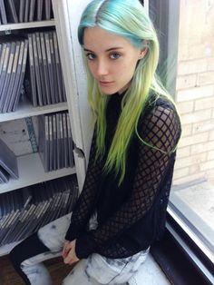 the Fashion Spot - Chloe Norgaard - blue/green/yellow hair