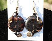 ITEM #55   Dangle earrings w/ genuine clear & brown streaked Smokey Quartz stone, bronze wire and brown cube crystals, attached to 22K Gold fish hooks.