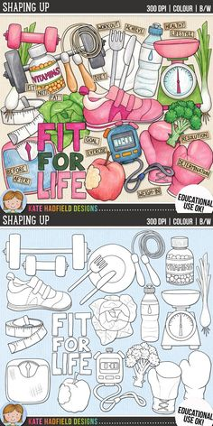 Healthy living / get fit clip art for teachers! | Contains coloured clipart and black and white outlines at 300 dpi for highest quality printing for your resources and projects! | Hand-drawn clip art by Kate Hadfield Designs at Teachers Pay Teachers