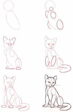 Hoe teken je een zittende kat 2609
