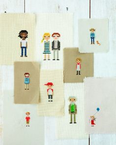 This is adorable - Cross Stitch Family Portrait #craft #DIY