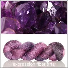 February Amethyst luster merino tencel sport weight yarn by expression fiber arts