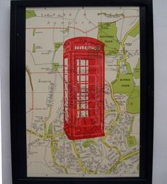 Red Telephone Box  gocco art print by Paper2Rock2Scissors on Etsy, $20.50