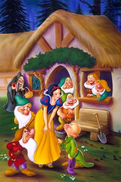 1994 – 'Snow White and the Seven Dwarfs' (home entertainment illustration, cover art, key art, packaging design) by Corey Wolfe. Client: Walt Disney Home Video Disney Pixar, Disney Cartoon Characters, Disney Cartoons, Disney Art, Disney Princess Snow White, Snow White Disney, Disney Love, Disney Magic, Snow White Seven Dwarfs