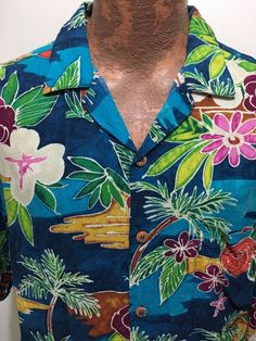 Jams World Mens L Multi-Color Rayon Hawaiian Short-Sleeve Shirt Made in Hawaii #JamsWorld #Hawaiian