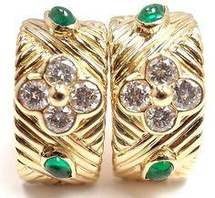 AUTHENTIC! CHRISTIAN DIOR 18K YELLOW GOLD FLOWER DIAMOND EMERALD HOOP EARRINGS - http://designerjewelrygalleria.com/christian-dior/authentic-christian-dior-18k-yellow-gold-flower-diamond-emerald-hoop-earrings/