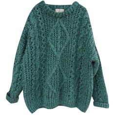 Wool jumper ESSENTIEL ANTWERP ($180) ❤ liked on Polyvore featuring tops, sweaters, shirts, chunky knit sweater, long sleeve sweater, green sweater, oversized chunky cable knit sweater and chunky cable knit sweater