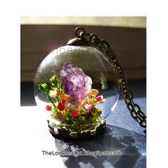 Crystal  Miniature Terrarium Raw Amethyst pendant by phoenixchiu
