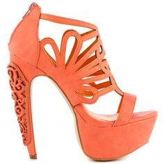 Elevate your look in the unique Alti by Privileged.  This orange synthetic sandal features intricate cut outs on the upper and back zipper.  Last but not least is a thick 2 inch platform and carved design detailing the 6 inch heel.