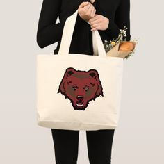 Bear Logo Large Tote Bag #renegadelife #humor #illustrations hockey players, field hockey, hockey girlfriend, dried orange slices, yule decorations, scandinavian christmas Hockey Coach, Women's Hockey, Hockey Gifts, Hockey Sayings, Lacrosse Quotes, Field Hockey, Quotes Girlfriend, Hockey Girlfriend, Hockey Posters