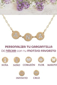 Personaliza tus #joyas con estos motivos de oro 18k y nácar. Los puedes encontrar en nuestra tienda online. #oro #nácar #joyas #jewelry #gold #nombres #pulseras #cadenas #infinito #corazón #love #joyaspersonalizadas #mujer #moda #fashion #tendencia Diamonds, Infinite, Chokers, Chains, Names, Pendants, Tent, Gold