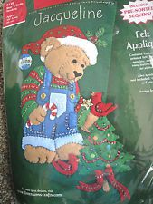 """BEAR 'N BIRDIE "". KIT # Kit will include stamped felts, cotton floss, acrylic yarn, sequins and beads, needles and instructions with directions for personalization. Christmas Decorations, Christmas Ornaments, Holiday Decor, Felt Christmas Stockings, Felt Applique, Bear, Embroidery, Blue Jeans, Prints"