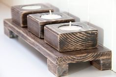 home made wooden candle holders - Google Search