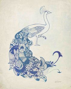 "Mehndi style Peacock Art Print from my Original Illustration - 8""x10"""