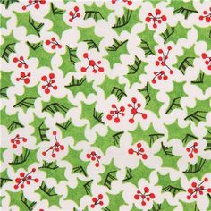 white festive green holly leaf red berry cloud 9 organic cotton fabric christmas fabricred christmasvintage - Vintage Christmas Fabric