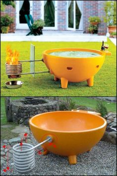 Relax in this hot tub while you watch as the flames naturally heat the water. Hot Tub Backyard, Small Backyard Pools, Backyard Patio, Backyard Landscaping, Outdoor Baths, Outdoor Bathrooms, Inflatable Hot Tub Reviews, Saunas, Pool Heater