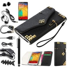 Black Flip Wallet Leather Rivet Case Cover For Samsung Galaxy Note III 3 N9000 - $8.69