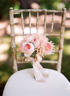 Brides: Pink Garden Rose Wedding Bouquet. Bouquets of pink Juliet garden roses and lamb's ear.