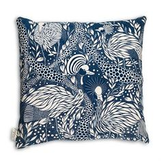 Prancing peacock cushion cover 50x50 cm - blue - House of Rym