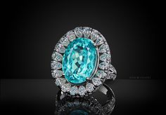 Купить Кольцо с Параибой от Gem Lovers Magic golden ring with Paraiba tourmaline and diamonds One of a kind