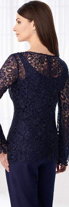 Cameron Blake - 218611 Three-piece Sheer Lace Pantsuit