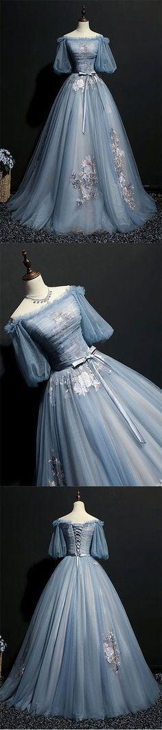 Unique gray blue tulle lace applique long prom dress, gray blue evening dress