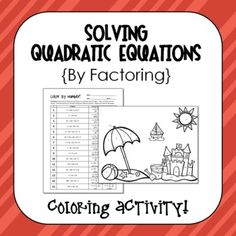 Color by Number Activity {solving quadratic equations by factoring} Math Teacher, Math Classroom, Teaching Math, Algebra 1 Textbook, Maths Algebra, Fun Math, Kids Math, Math Games, Graphing Quadratics