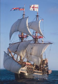 The replica of Sir Francis Drake's English galleon GOLDEN HIND. She was originally named Pelican but he changed the to Golden Hind, mid-voyage, in 1568 to compliment his patron, Sir Christopher Patton.