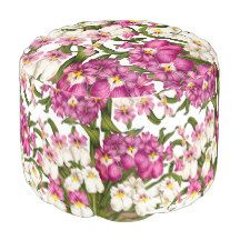 Tropical Pansy Orchid Flowers Floral Pouf Pillow Round Pouf