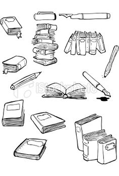 """book doodles Bottom right--doodle for """"I've always imagined paradise would be a kind of library."""" Tall stack--doodle for """"The stories we love stay with us forever."""" Standing up stack/Middle right--doodle for something else."""