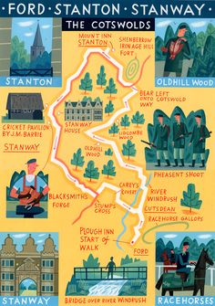 Cotswolds map - 'Walk of the Month' - The Daily Telegraph - Acrylic on paper - John Montgomery
