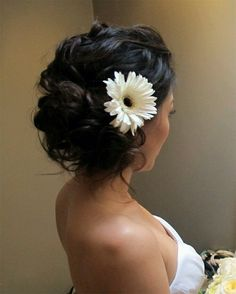 Swept back with large flower accent