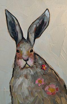 """Eli Halpin.  Tiny Rabbit with Wildflowers in Iridescent Orange Cream  2012  6.5"""" x 10"""".  (c) 2004-2013 Eli Halpin"""