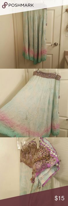 Bohemian skirt Sheer blue and pink tie dye bohemian skirt with gorgeous bead work at the waist. Material is kinda see thur but makes a great summer skirt! Tie at the waist temptation  Skirts Asymmetrical