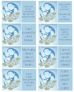 Childbirth Affirmation Cards: Free Printable | The Blossoming Bump