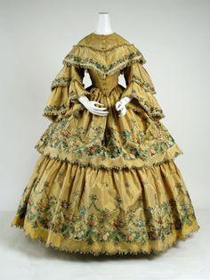 Dress: 1859, American, silk, elaborate embroidery.