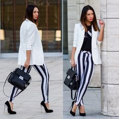 Zara Blazer, Zara T Shirt, Zara Striped Pants, Michael Kors Bag, Giuseppe Zanotti Shoes