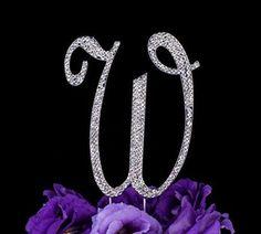 LOVENJOY Gift Box Pack Letter W Crystal Rhinestone Wedding Birthday Metal Cake Topper