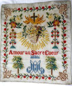 Abécédaire ancien en laine, religieux  coeur de Marie, début de siècle