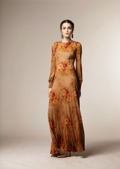 Modest floral maxi dress with sleeves from A La Russe at Mode-sty