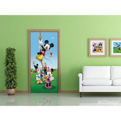Disney Mickey Mouse Kids Mural By WallandMore. Can be applied both on the wall and door. Disney Wall Murals, Murals For Kids, Disney Rooms, Elsa Frozen, Disney Mickey Mouse, The Little Mermaid, Kids Bedroom, Wall Decor, Disney Princess