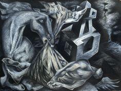 'Deposition'. Conté pencil on Arches paper. 56 x 76 cm. 2001