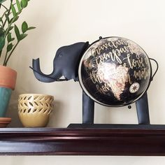 """I painted this special elephant globe for my friend @trusharana's Mother's Day gift to @nitasrana! Loved getting to work on this custom project  Happy Mother's Day! """"Traveling in the company we love is home in motion"""""""
