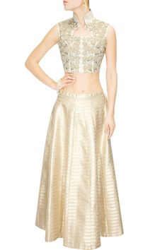 Ivory Heavy Zardozi Embroidered Crop Top with Gold Jacquard Skirt